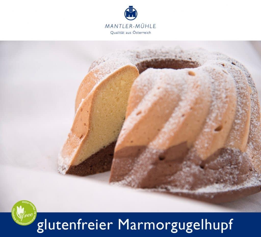 Glutenfreier Marmorkuchen in einer Gugelhupfform
